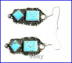 Native American Sterling Silver Navajo Hand Made Turquoise Dangle Earring