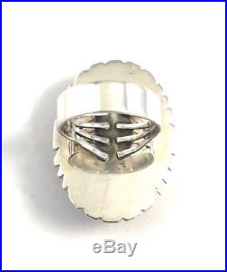 Native American Sterling Silver Navajo Hand Made White Buffalo Ring Size 9.1/2