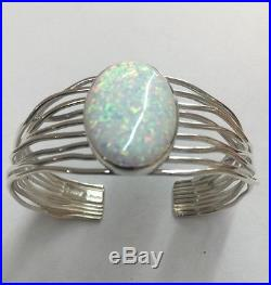 Native American Sterling Silver Navajo Hand Made White Opal Cuff Bracelet