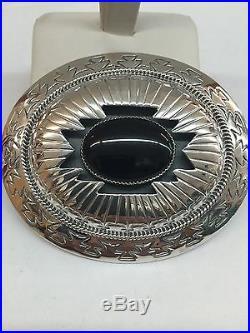 Native American Sterling Silver Navajo Hand made Black Onyx Belt Buckle