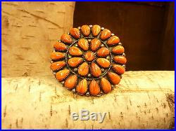 Native American Sterling Silver & Spiny Oyster Adjustable Ring Navajo Hand Made
