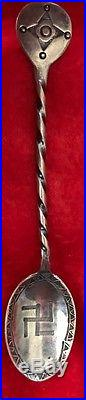 Native American Sterling Silver Whirling Log Ingot Spoon Hand Made Circa. 1900