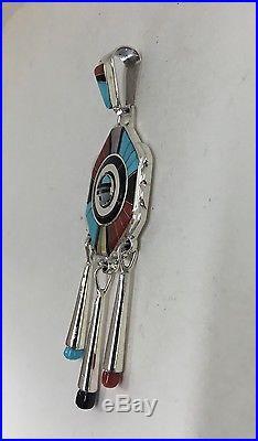 Native American Sterling Silver Zuni Hand Made Don Dewa Pendant