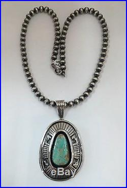 Native American Sterling Sliver Navajo Hand Made Royston Turquoise Necklace