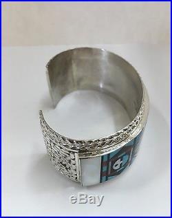 Native American Sterling Zuni Hand Made Multi-Color Cuff Bracelet