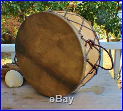 Native American Sweat Lodge Buffalo hide Drum Cherokee made William Lattie Cert