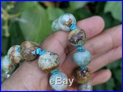 Native American Turquoise Necklace Santo Domingo Pueblo 45mm Kewa Hand Made