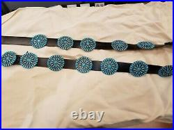 Native American Turquoise Stone Detailed Black Leather Concho Belt