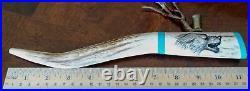 Native American Vintage Real Hand Made Deer Antler Ceremonial Pipe Unique, Nice