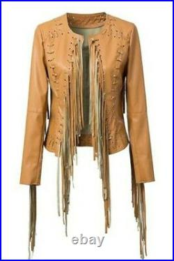 Native American Women Western Suede Leather Jacket With Fringe Hand made Work