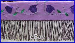 Native American Women's Purple Rose Fringe Shawl 66 x 58 Pawnee Made Beautiful