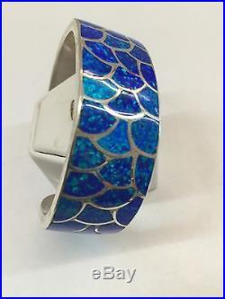 Native American Zuni Hand Made Sterling Silver Blue Opal Inlay Cuff Bracelet