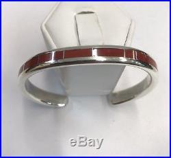 Native American Zuni Hand Made Sterling Silver Coral Cuff Bracelet Larry Loretto