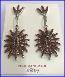 Native American Zuni Hand Made Sterling Silver Coral Needlepoint Earrings