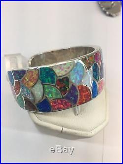 Native American Zuni Hand Made Sterling Silver Cuff Bracelet Multi Color Opal