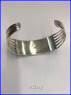 Native American Zuni Hand Made Sterling Silver Turquoise Inlay Cuff Bracelet