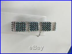 Native American Zuni Hand Made Sterling Silver Turquoise Link Bracelet