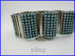 Native American Zuni Hand Made Sterling Silver Turquoise Wide Bracelet P&V Haloo
