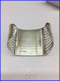 Native American Zuni Hand Made Sterling Silver White Opal Inlay Cuff Bracelet