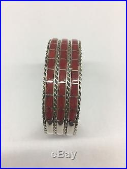 Native American Zuni Indian Hand Made Sterling Silver Coral Inlay Cuff Bracelet