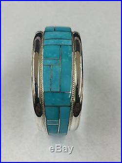 Native American Zuni Indian Hand Made Sterling Silver Turquoise Cuff Bracelet
