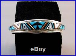 Native American Zuni Made Multistone Inlaid Cuff Bracelet Rydell Lynette Yuselew