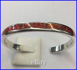 Native American Zuni Made Sterling Silver Red Opal Cuff Bracelet Larry Loretto