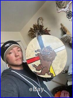 Native American drum 12 Buffalo Hand drum indian Cherokee Native Made