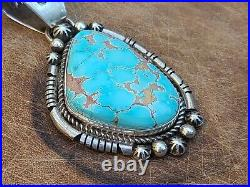 Native American jewelry Sterling Silver Turquoise big vintage Pendant Made byHj