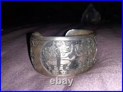 Native American made (Hopi) Sterling Silver 925. Storyteller Bracelet