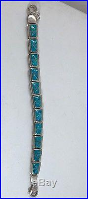 Native American made Inlaid Sterling Silver Inlaid Bracelet