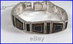 Native American made Inlaid Sterling Silver Men's Bracelet