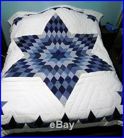 Native American made Queen Star Hand Quilted Quilt Upcycled Denim Blue Jeans NEW