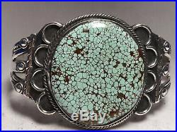 Native American made Sterling Silver Turquoise cuff bracelet 40.3 grams