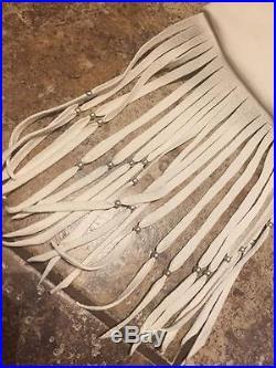 Native American made whitedeerskin leather bag flute pipe