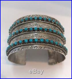 Native American sterling silver zuni Hand Made Turquoise cuff Bracelet