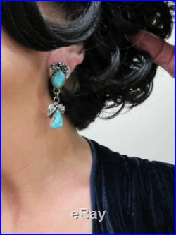 NavajoLYDIA BEGAYHand Made Leaves with FOX Turquoise/Oxidized 925 Earrings2