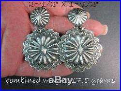 NavajoVINCENT PLATEROSW StyleHand Stamped/Made 925 Round Concho Earrings