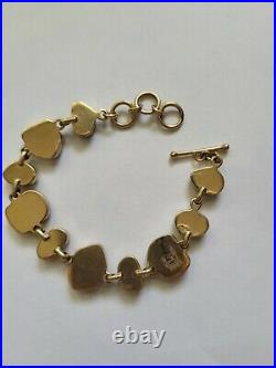 Navajo 14k gold and natural Blue Bird turquoise link bracelet made by Joe Piaso