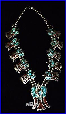 Navajo Bird Inlay Sterling Silver Turquoise and Coral Squash BlossomMade by K