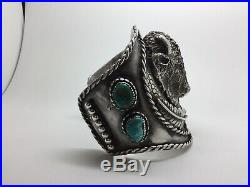 Navajo Buffalo & Sterling Silver Turquoise Cuff Bracelet By M. A. 5/5 Made