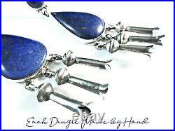 Navajo-CLARISSA & VERNON HALE-Hand Cut Lapis-Hand Made Squash Blossom Earrings