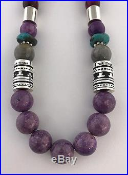 Navajo Charoite Stone Sterling Silver Hand Made Necklace T&R Singer