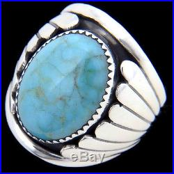 Navajo Classic Sterling Silver TURQUOISE RING Mens s9-13 Native Hand Made in USA