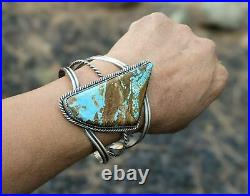 Navajo Cuff Bracelet Sterling Silver Royston Turquoise Hand Made Signed Jewelry