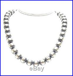 Navajo Desert Pearls 12mm Antiqued Sterling Silver Beads 20 Necklace Made USA