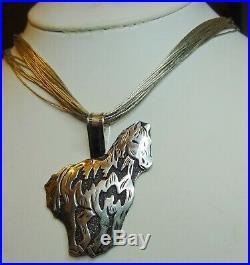 Navajo Hand-MadeRICHARD SINGERLarge Sterling Silver Horse Pendant 2-1/2