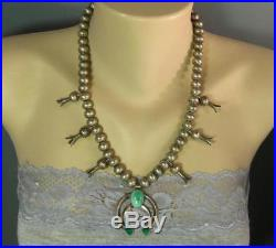 Navajo Hand Made Sterling Beads Turquoise Squash Blossom Necklace Fred Harvey