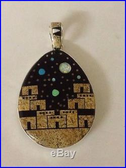 Navajo Hand Made Sterling Silver Night Sky Inlay Pendant Reversible Amazing Work