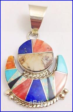 Navajo Handmade Inlay Multi-Color Pendant Very Bright Stones! Made By Chris Tom